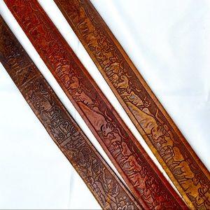 "Vtg hand tooled leather western belts 38"" waist"